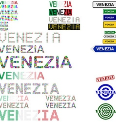 Venezia text design set vector