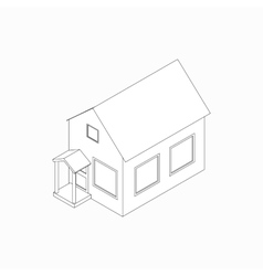 Bungalow icon isometric 3d style vector