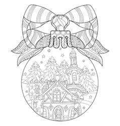 Cute fairy tale town doodle vector