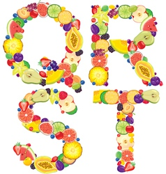 Alphabet from fruit QRST vector image vector image