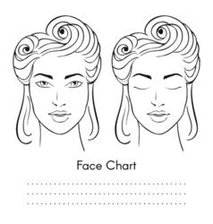 Beautiful woman face chart portrait vector