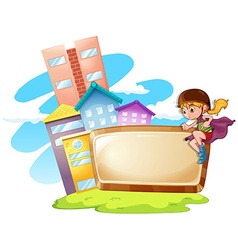 Border design with kid and buildings vector