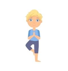 Boy in tree pose vector