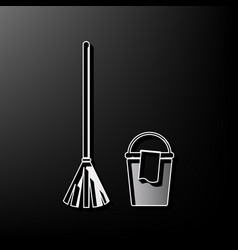 Broom and bucket sign gray 3d printed vector