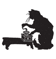 Cat grinding coffee vintage vector