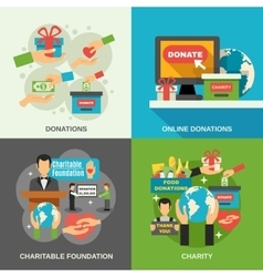 Charity concept icons set vector