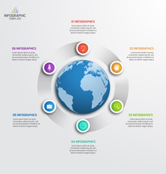 Circle infographic template with globe 6 options vector