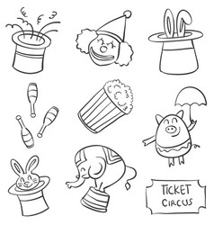Doodle of circus various element vector