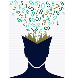 Education numbers human head book back to school vector image vector image