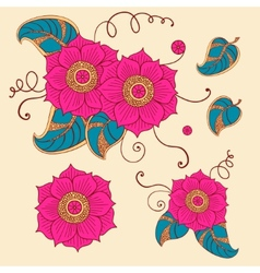 Floral set in vector image vector image