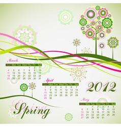 Floral tree spring calendar 2012 eps10 vector