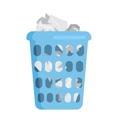 Garbage trash bin flat vector