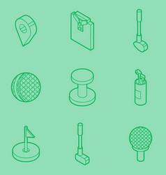 Golf outline isometric set vector