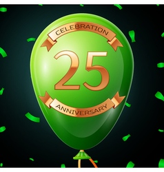 Green balloon with golden inscription twenty five vector