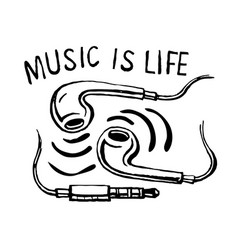 headphones smartphone music is life vector image vector image