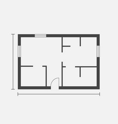 House plan simple flat icon on white background vector