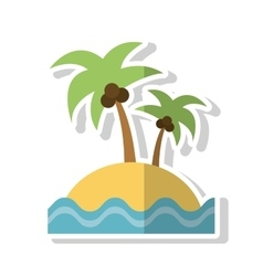 Isolated palm tree beach and sea design vector