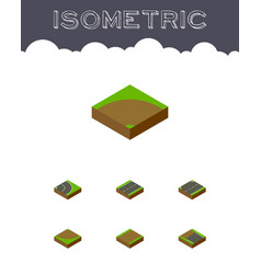 Isometric way set of cracks asphalt incomplete vector