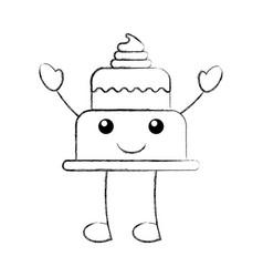 Kawaii brithday cake funny cartoon sweet vector