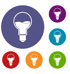 Light bulb with blue water inside icons set vector
