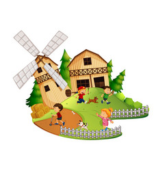 Many kids playing in the farm vector