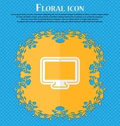 monitor Floral flat design on a blue abstract vector image