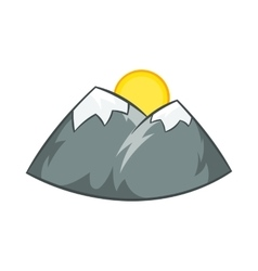 Mountains and sun icon cartoon style vector image