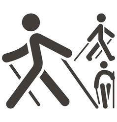 Nordic walking icons vector