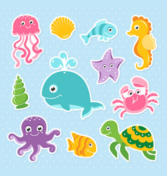 Ocean set with cute sea animals vector