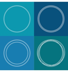 Round abstract chain frame set outline effect blue vector