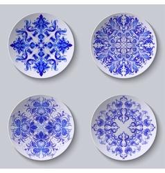 Set of floral circular plates vector image vector image
