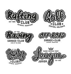 Set of vintage lettering logo rafting diving golf vector