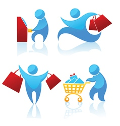 shopping abstract people vector image vector image