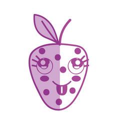 Silhouette kawaii cute funny strawberry fruit vector