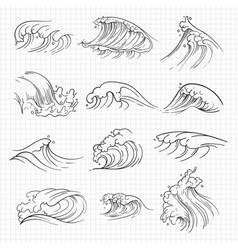 sketch of expressive ocean waves vector image vector image