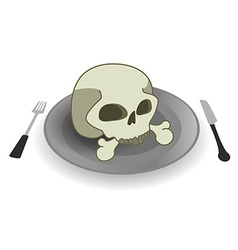Skull on steel plate vector