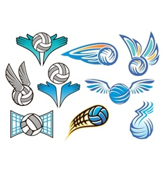 Volleyball ball emblems collection vector