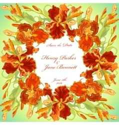 Wedding card with red iris flower wreath vector