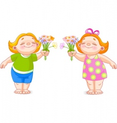 two babies with bouquets vector image