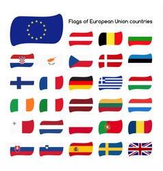 Set the flags of european union countries vector
