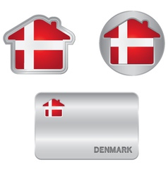 Home icon on the denmark flag vector