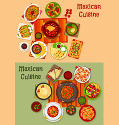 Mexican cuisine national dinner dishes icon set vector