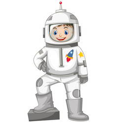 Happy boy in spacesuit vector