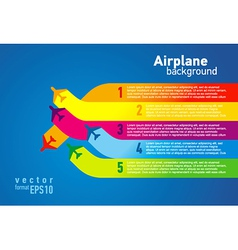Airplane colored list background vector