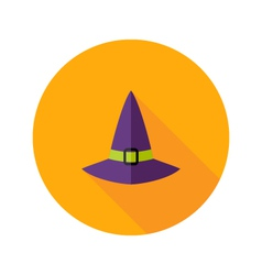 Halloween witch hat flat icon vector
