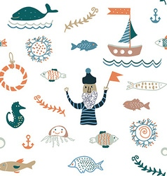 Fishes and sea food seamless pattern - nice design vector