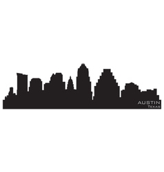 austin texas skyline detailed silhouette vector image