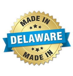 Made in delaware gold badge with blue ribbon vector