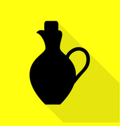 Amphora sign black icon with flat vector
