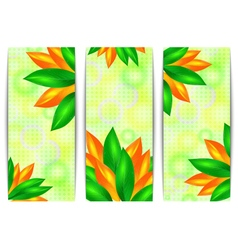 Banners with leaves and dotted background vector image